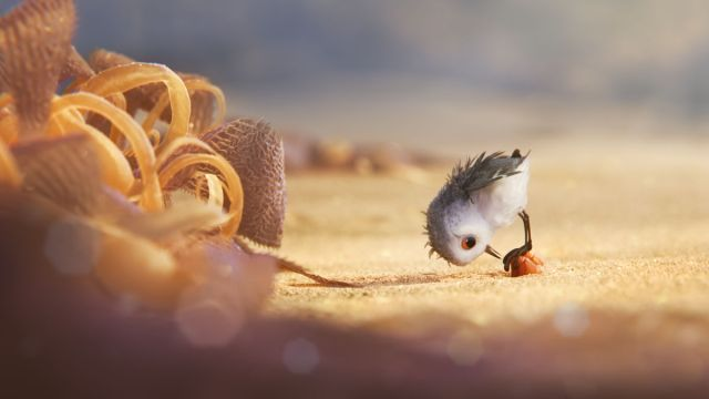 """BIG ADVENTURE — A hungry sandpiper hatchling ventures from her nest for the first time to dig for food by the shoreline in """"Piper,"""" a new short from Pixar Animation Studios. Directed by Alan Barillaro (supervising animator """"WALL•E,"""" """"Brave""""), """"Piper"""" debuts in theaters on June 17, 2016, in front of """"Finding Dory."""" ©2016 Disney•Pixar. All Rights Reserved."""